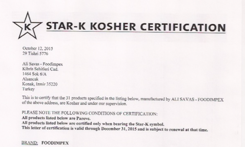 kosher certificate by Star K